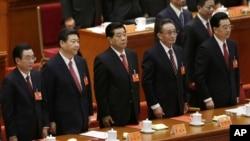 14일 베이징 인민대회당에서 열린 제 18회 공산의회의 폐막식에 참여한 후진타오 중국 국가주석.(맨 오른쪽)