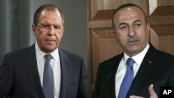 From left, Russian Foreign Minister Sergei Lavrov and Turkish Foreign Minister Mevlut Cavusoglu.