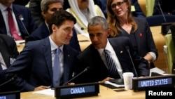 Justin Trudeau et Barack Obama à New York, le 20 septembre 2016.