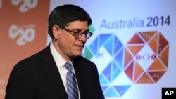 U.S. Secretary of the Treasury Jack Lew arrives at a press conference where he delivered a closing statement to the media at the G-20 Finance Ministers and Central Bank Governors meeting in Sydney, Australia, Feb. 23, 2014.