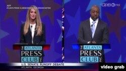 佐治亞州聯邦參議員候選人電視辯論。(視頻截圖)