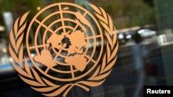 联合国印在总部大楼上的标识。