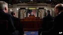 Presiden Donald Trump menyampaikan pidato kenegaraan pertama di hadapan Kongres, di Washington, 30 Januari 2018.