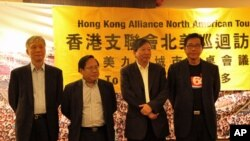 港支联代表团访多伦多 (从左至右:朱耀明、何俊仁、李卓人、麦海华)