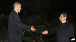 胡锦涛迎接奥巴马