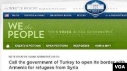 2013թ. հունվարի 5-ին ԱՄՆ-ի Սպիտակ տան կայքում մեկնարկած ստորագրահավաք, որտեղ ԱՄՆ-ի նախագահ Բարաք Օբամային առաջարկվել է կոչ անել Թուրքիային սիրիահայերի առջև բացել հայ-թուրքական սահմանը