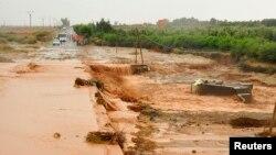 Crues au sud de Marrakech, le 31 octobre 2012, après des pluies torrentielles ayant provoqué de nombreux dégats au Maroc.