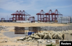 "FILE - The China-funded ""Colombo Port City"" project, whose development had been suspended, is seen in Colombo, Oct, 19, 2015."
