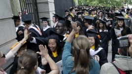 Students celebrate at a Princeton University commencement ceremony.