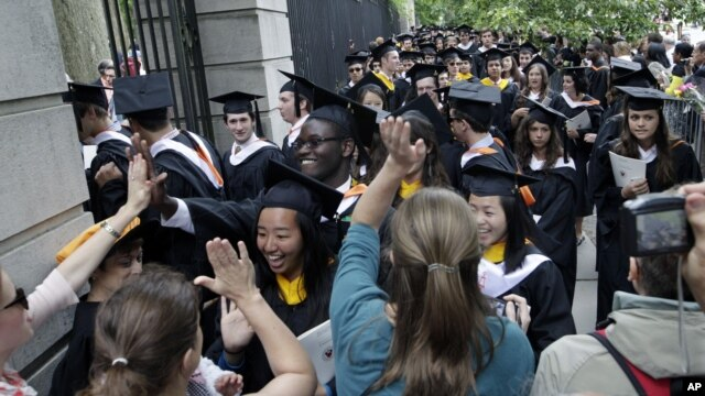 Students celebrate at a Princeton University commencement ceremony.