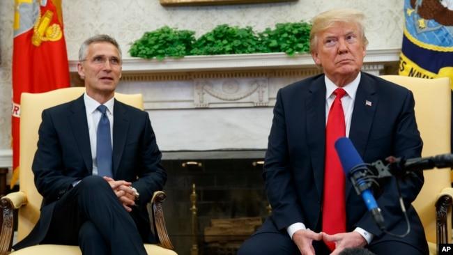 美國總統川普與北約秘書長斯托爾滕貝格在白宮與媒體見面。 (2018年5月17日)