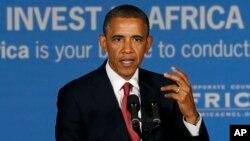 U.S. President Barack Obama addresses business leaders forum, Dar es Salaam, July 1, 2013.