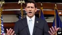 Dân biểu Paul Ryan trong buổi họp báo sau cuộc họp ở Hạ viện Mỹ ngày 20/10/2015.