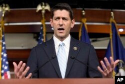 Rep. Paul Ryan, R- Wis., speaks at a news conference following a House Republican meeting, Oct. 20, 2015, on Capitol Hill in Washington. The House Republican caucus is set to formally pick Ryan as its choice for House speaker on Oct. 28.