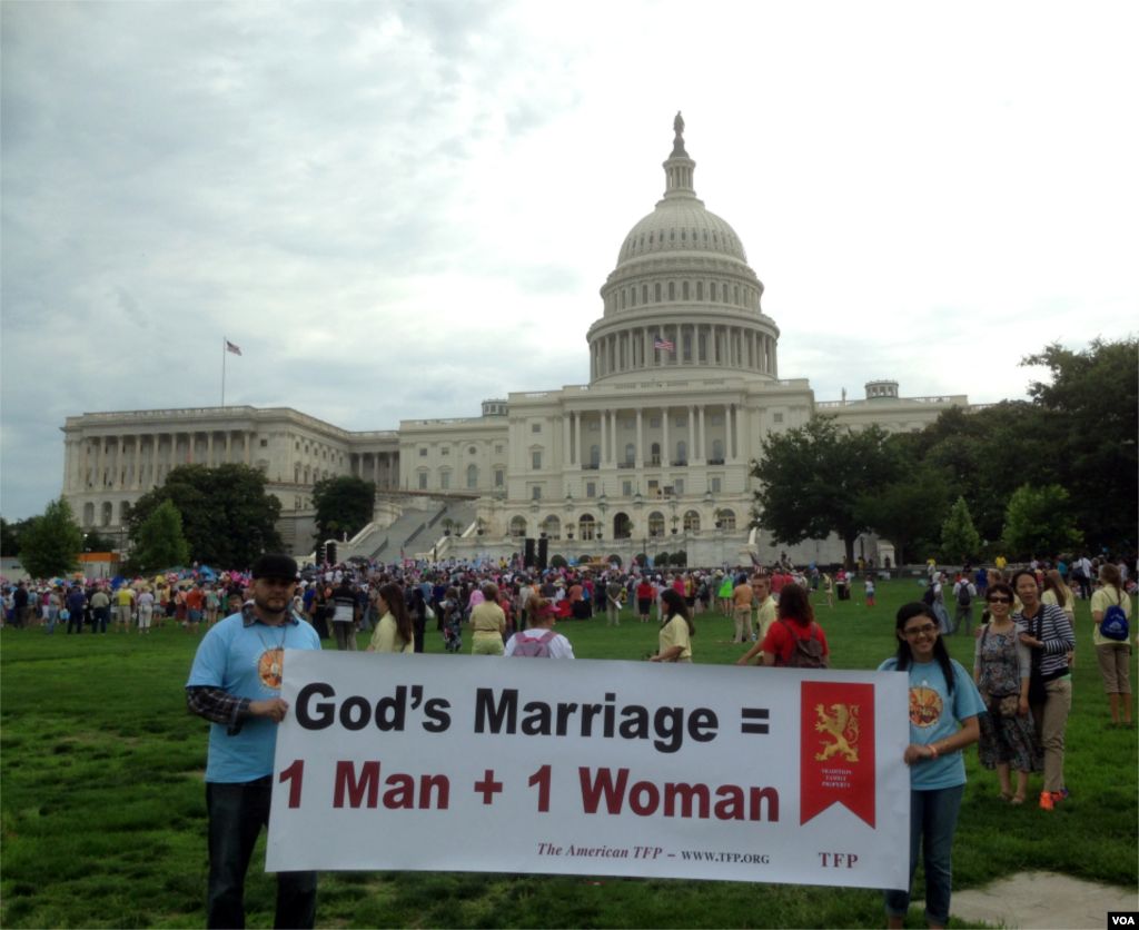Anti-gay marriage rally outside Capitol Hill in Washington to support traditional marriage. (Photo by Diaa Bekheet)