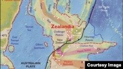 Zealandia လုိ႔နာမည္ေပးထားတဲ့ ေျမေနရာကုန္းေျမ။