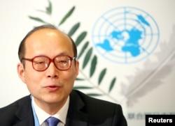 資料照:中國常駐聯合國日內瓦辦事處和瑞士其他國際組織代表陳旭在日內瓦出席一個新聞發布會。 (2020年1月31日)