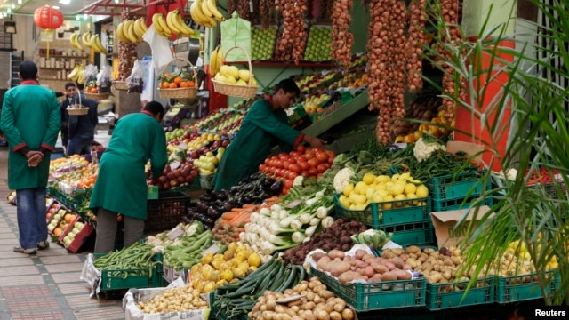 Vendors sell produce in Rabat in January 15, 2013. Morocco's government offers food and energy subsidies to help keep down the living costs of millions of people.