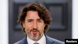 Perdana Menteri Kanada Justin Trudeau menghadiri konferensi pers di Rideau Cottage, di Ottawa, Ontario, Kanada, 22 Juni 2021. (Foto: REUTERS/Blair Gable)