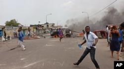 Une manifestation anti-gouvernement à Kinshasa, RDC, 19 janvier 2015.