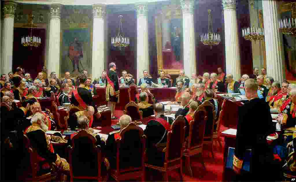 Ceremonial Session of the State Council, painted in 1900 by Ilya Repin, hands in the Russian Museum, St. Petersburg.