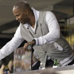 Jamie Foxx greets fans at Cowboys Stadium during Super Bowl XLV last week in Arlington, Texas.