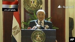 Egyptian state television Al-Masriya shows new Egyptian Prime Minister Ahmed Shafiq holding a press conference in Cairo, February 3, 2011