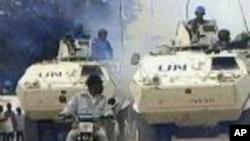 Des véhicules blindés de la mission de l'ONU en RDC