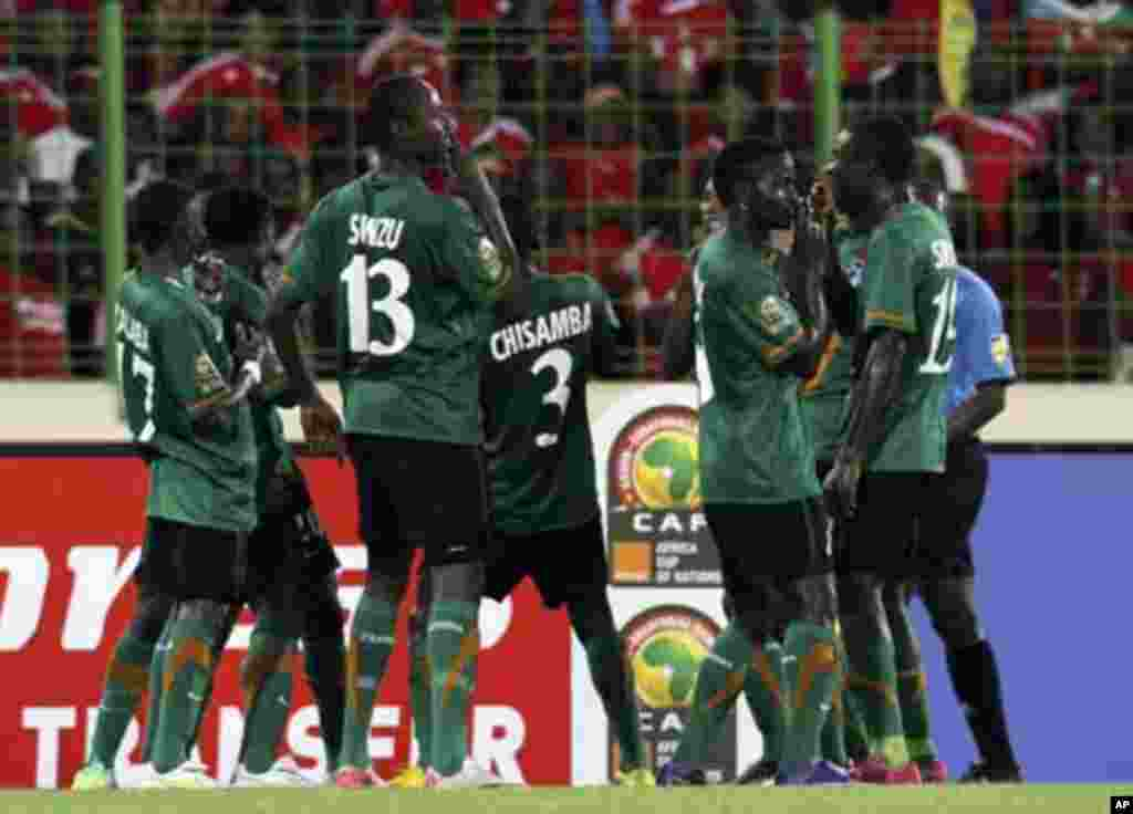 Zambia's players celebrate after scoring against Equatorial Guinea during their African Nations Cup soccer match in Malabo January 29, 2012.