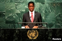 FILE - Zambia's President Edgar Chagwa Lungu addresses the United Nations General Assembly in the Manhattan borough of New York, Sept. 20, 2016.