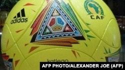 Picture of the official match ball (Katlego) of the Africa Cup of Nations 2013 (CAN) taken before the final draw of the CAN during a ceremony in Durban on October 24, 2012. AFP PHOTO / ALEXANDER JOE (Photo credit should read ALEXANDER JOE/AFP/Gett