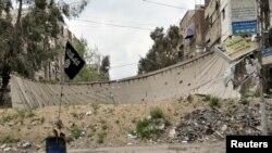 Bandera del estado islámico en Siria.