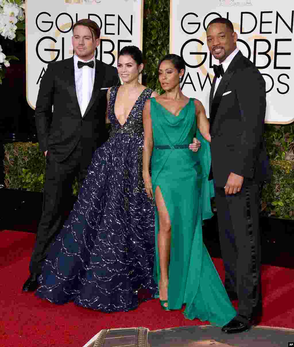 Channing Tatum, from left, Jenna Dewan Tatum, Jada Pinkett Smith, and Will Smith arrive at the 73rd annual Golden Globe Awards on Jan. 10, 2016, at the Beverly Hilton Hotel in Beverly Hills, Calif.