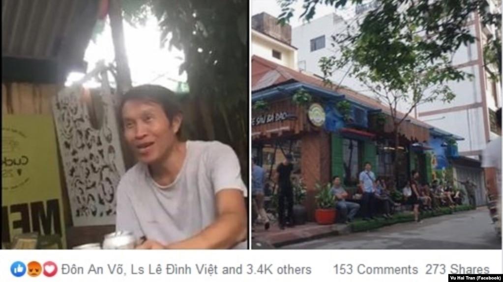 Nguyễn Hữu Vinh, người sáng lập blog Anh Ba Sàm, tại nhà riêng sau khi được trả tự do, và bên ngoài nhà ông ở Hà Nội trong ngày 5/5. (Ảnh Facebook Vu Hai Tran)