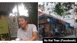 Nguyễn Hữu Vinh, người sáng lập blog Anh Ba Sàm, tại nhà riêng sau khi được trả tự do, và nhiều người được cho là cảnh sát mặc thường phục bên ngoài nhà ông ở Hà Nội trong ngày 5/5. (Ảnh Facebook Vu Hai Tran)
