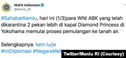 Cuitan twitter Kemenlu RI mengenai perkembangan WNI yang berada di Kapal Diamond Princess.(Foto: Courtesy/Twitter Kemenlu RI)