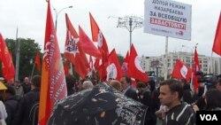 扎納奧津事件後,俄羅斯左翼勢力2012年6月在莫斯科組織集會支持哈薩克石油工人。集會現場標語呼籲罷工並抨擊納扎爾巴耶夫政權。