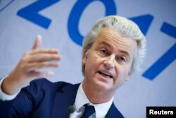 Netherlands' Party for Freedom leader Geert Wilders attends a news conference after a European far-right leaders meeting in Koblenz, Germany, Jan.21, 2017.