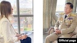 ႐ုရွားႏိုင္ငံ RT သတင္းဌာနနဲ႔ ေတြ႔ဆုံေမးျမန္းခန္းမွာ ေျဖၾကားေနတဲ့ ဗိုလ္ခ်ဳပ္မွဴးႀကီးမင္းေအာင္လႈိင္။ (ဇြန္ ၂၄၊ ၂၀၂၀။ ဓာတ္ပုံ - seniorgeneralminaunghlaing.com)