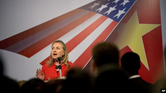 U.S. Secretary of State Hillary Clinton speaks during the American Chamber of Commerce reception at the Hilton Opera Hotel in Hanoi, Vietnam, July 10, 2012.