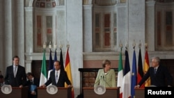 Merkel, Hollande, Monti and rajoy agree growth plan in Rome.