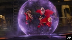 This image given by Disney Pixar shows a scene of the movie Incredibles 2.