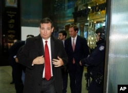 Sen. Ted Cruz, R-Texas, walks from Trump Tower, Nov. 15, 2016, in New York.