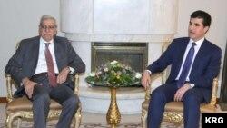 Serokwezîrê Herêma Kurdistanê Nêçîrvan Barzanî û parlamenter Ahmet Turk li Hewlêrê, Duşem, 4'ê Adarê, 2013.