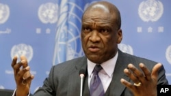 FILE - John Ashe, Antigua and Barbuda's former U.N. ambassador, speaks during a news conference at U.N. headquarters.