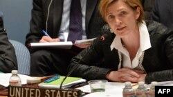 사만사 파워 유엔 주재 미국 대사가 지난 19일 유엔 본부에서 열린 안보리 회의에서 발언하고 있다. (자료사진)