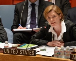 Samantha Power, U.S. Ambassador to the United Nations, speaks to a meeting of the United Nations Security Council to discuss the situation in Ukraine, March 19, 2014, at U.N. headquarters in New York.