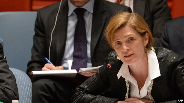 Samantha Power, U.S. Ambassador to the United Nations, speaks to a meeting of the United Nations Security Council on March 19, 2014, at U.N. headquarters in New York.