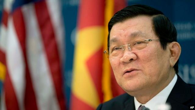 Chủ tịch nước Việt Nam Trương Tấn Sang phát biểu tại Trung tâm Nghiên cứu Chiến lược và Quốc tế (CSIS) ở Washington, ngày 25 tháng 7, 2013