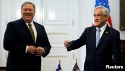 2019年4月12日,美国国务卿蓬佩奥和智利总统皮涅拉在智利圣地亚哥的总统府。